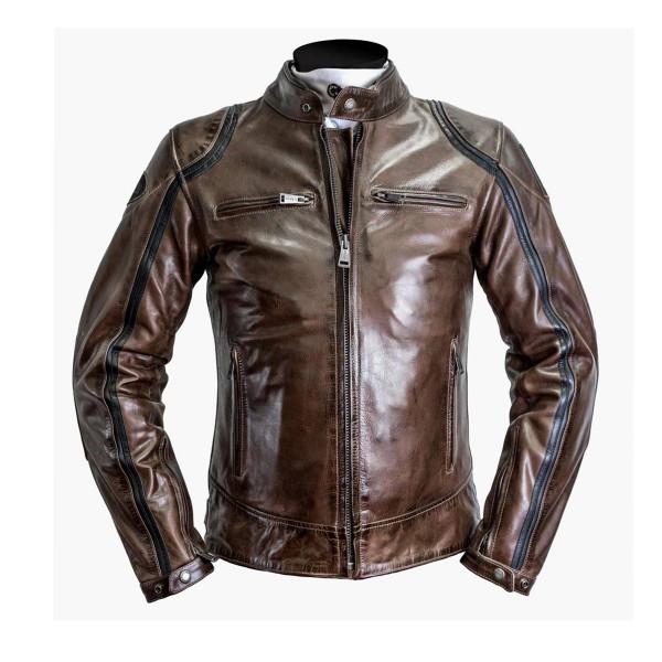 Helstons Modelo Camel Black Leather Jacket