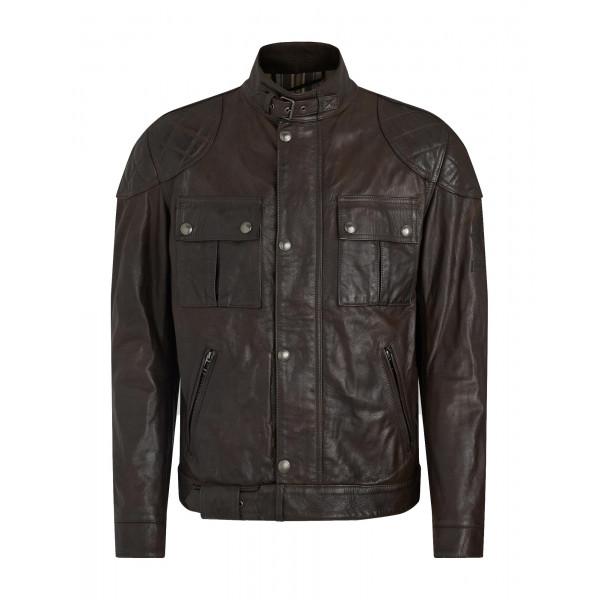Belstaff Brooklands Leather Jacket - Black Brown