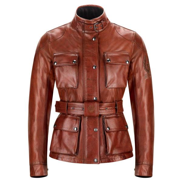 Belstaff Trialmaster Pro Ladies Leather Jacket - Burnished Red