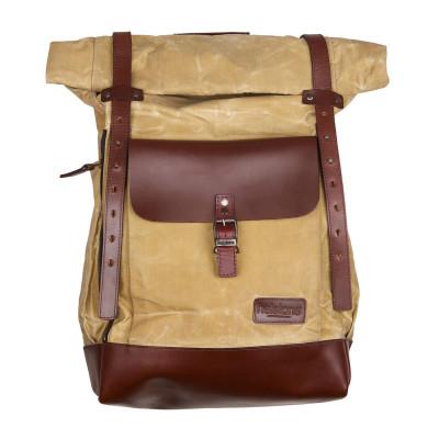 Helstons Paddock Roll Top Backpack - Beige / Brown