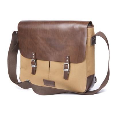 Helstons Messenger Bag - Beige / Brown