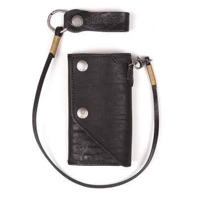Helstons Leather Old Wallet - Black