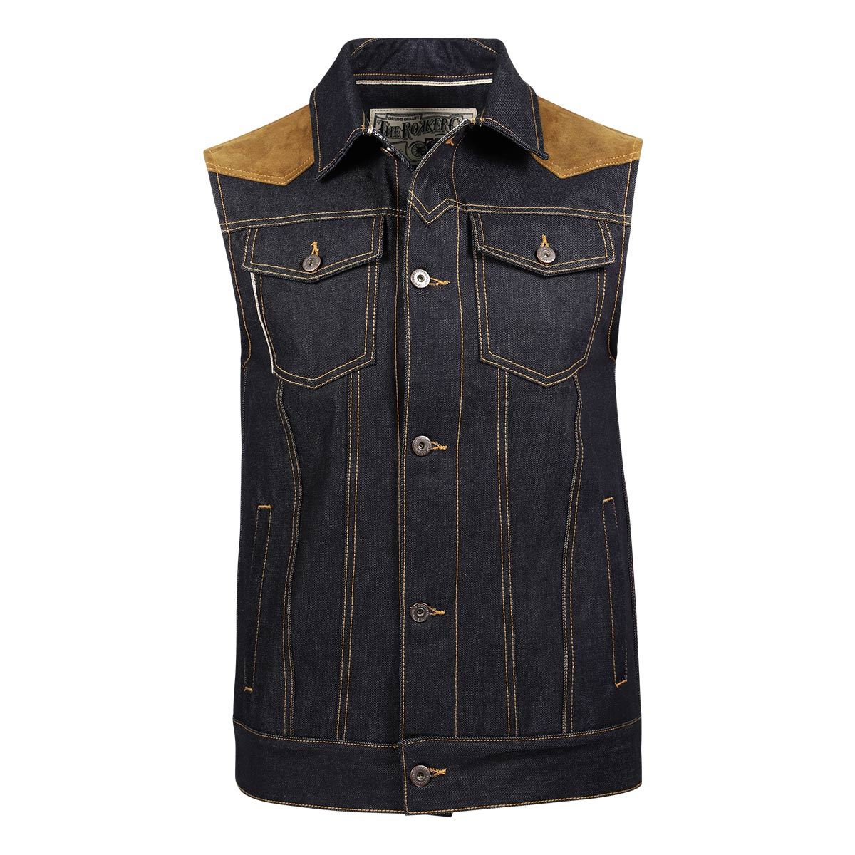 Rokker Mixed Vest Denim